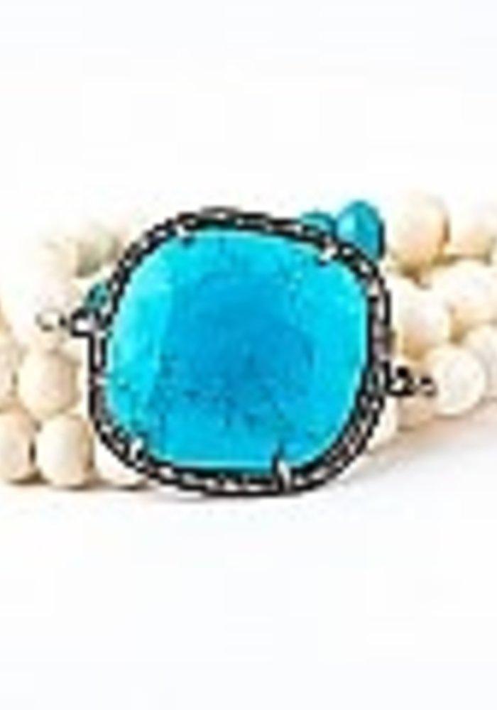 White Bone wrap with Round Pavé Diamond & Turquoise Pendant
