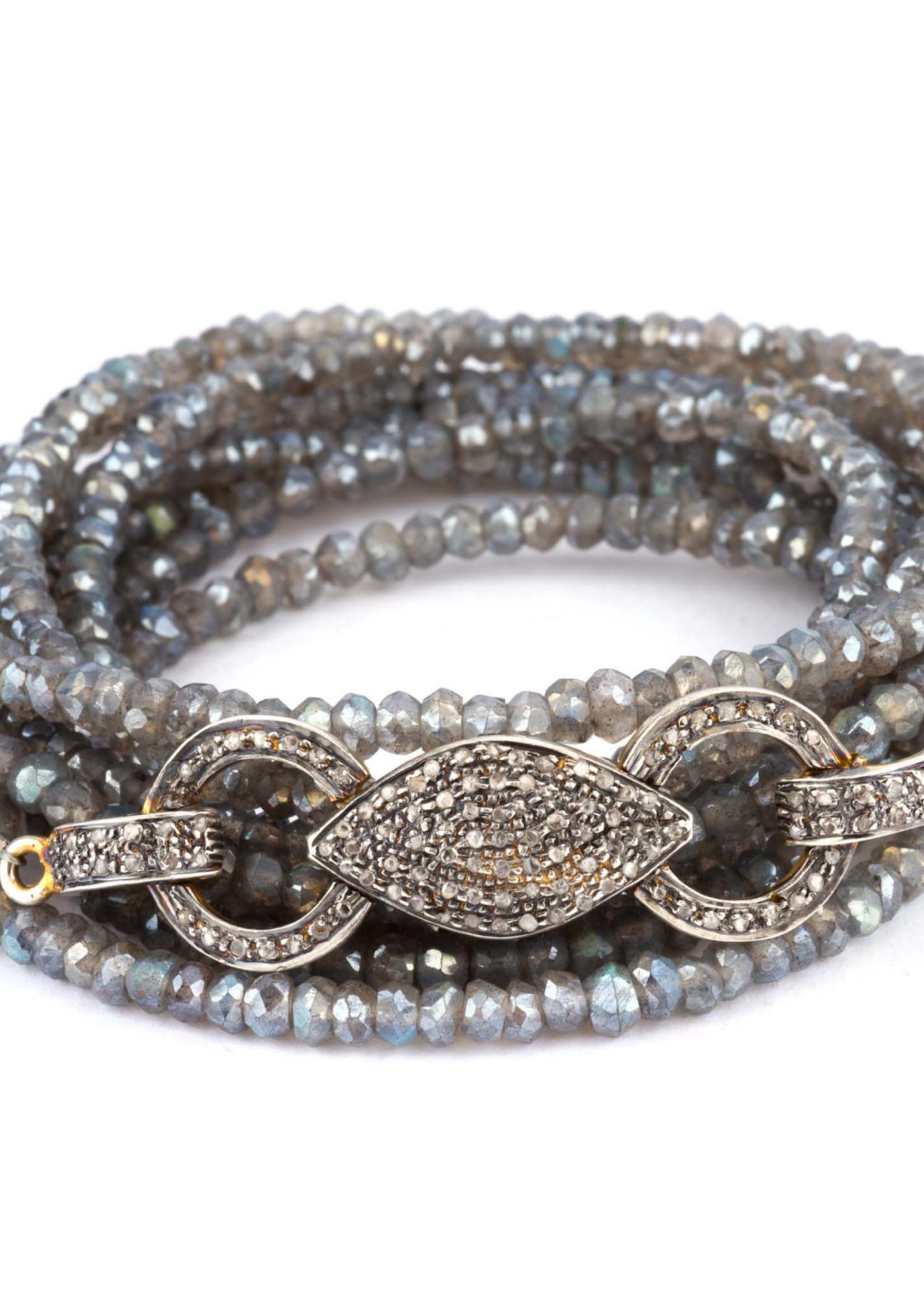 Mina Danielle Mystic Moonstone wrap bracelet with vintage Pavé Diamond