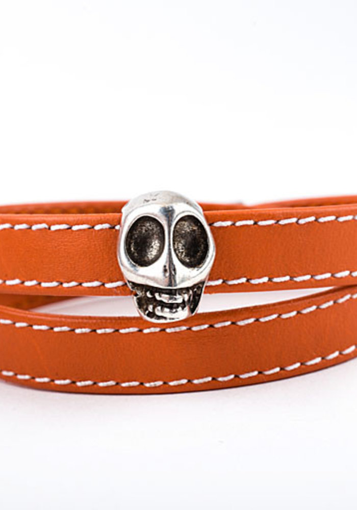 Orange Leather Wrap Bracelet with Silver Skull