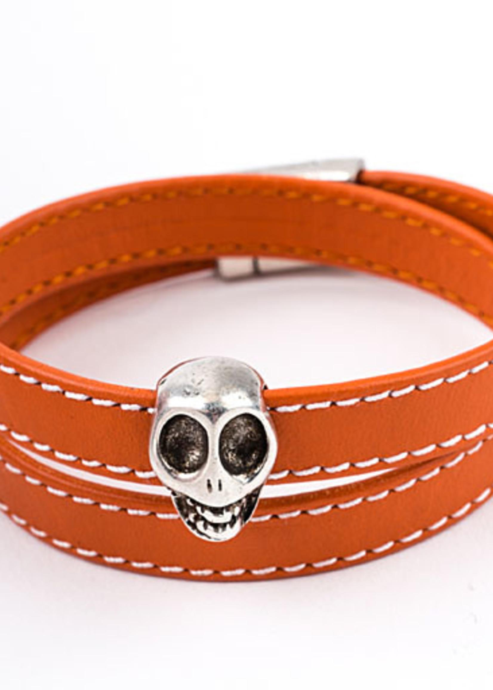 Mina Danielle Orange Leather Wrap Bracelet with Silver Skull