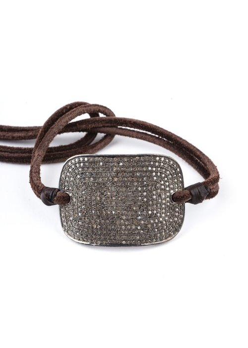 Mina Danielle Pavé Diamond Plate on brown leather cord