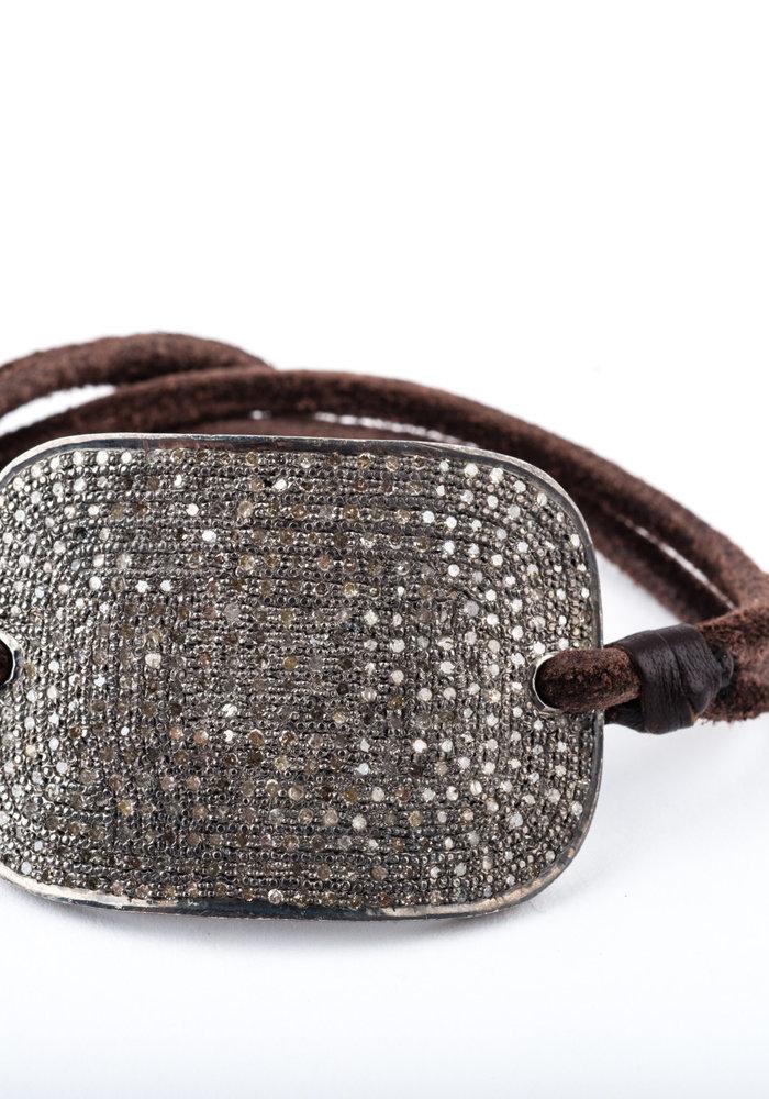 Pavé Diamond Plate on brown leather cord