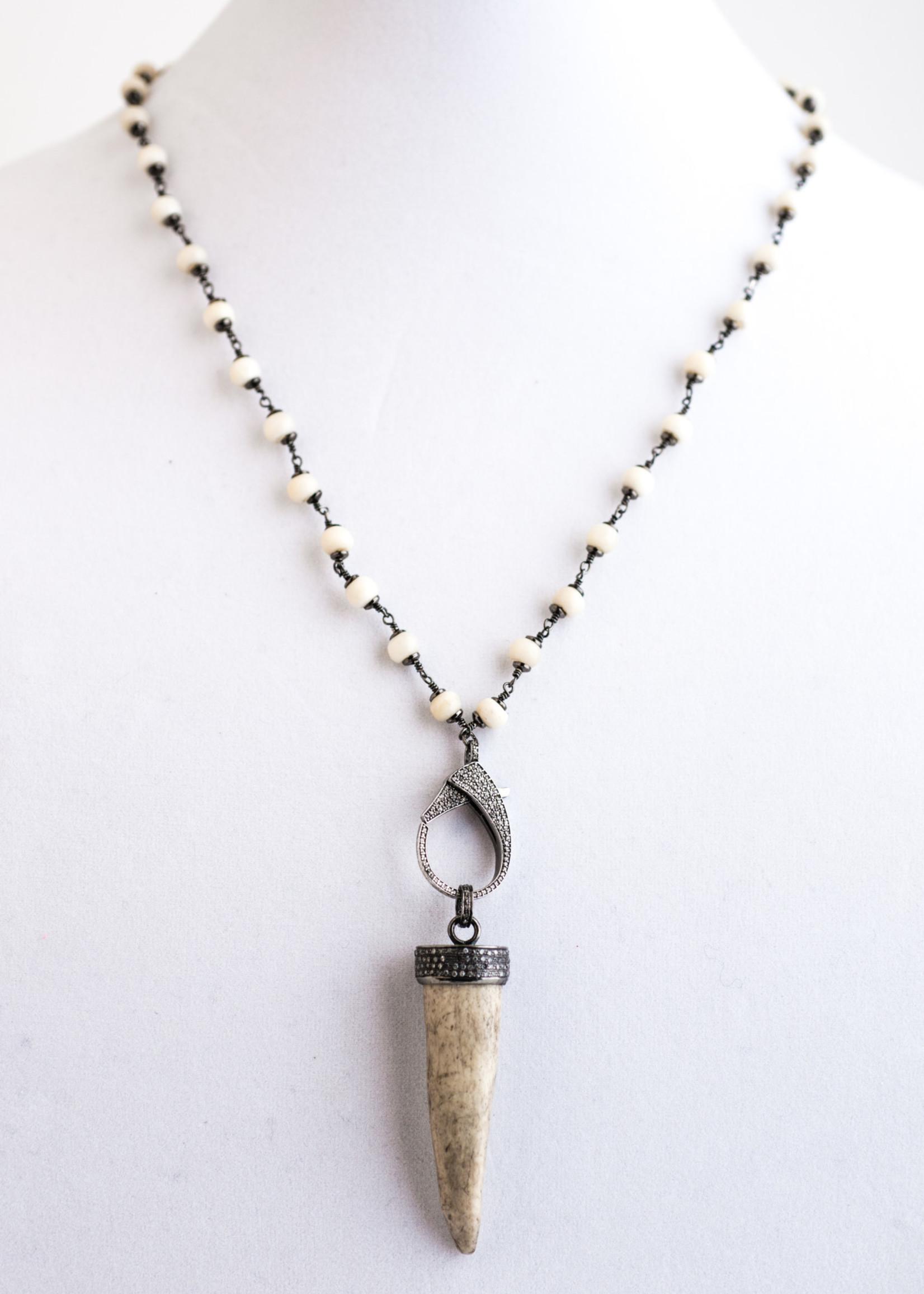 Mina Danielle Bone Chain Link with Diamond Horn Tusk