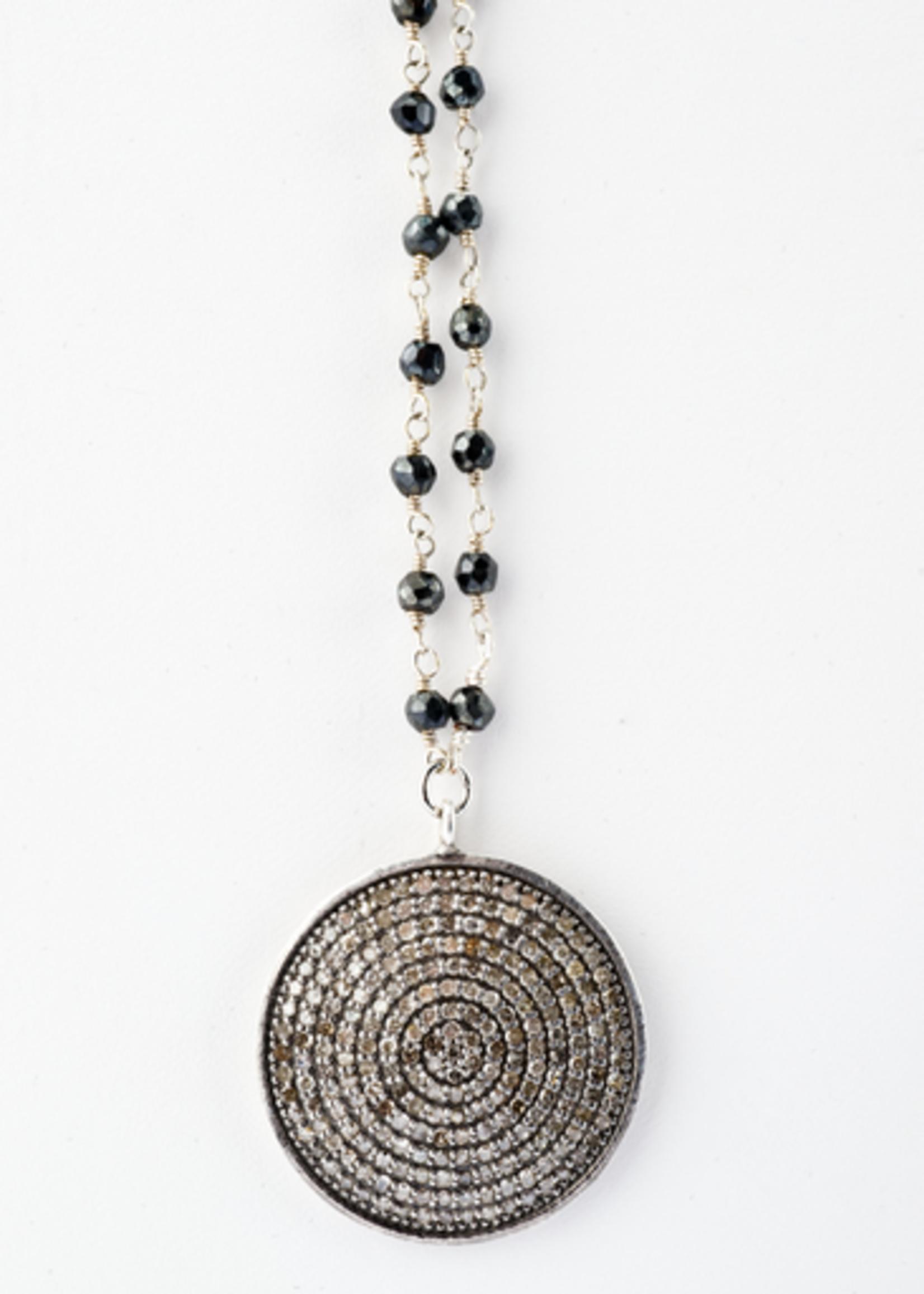 Mina Danielle Pavé Diamond Disc on Black Spinel Chain