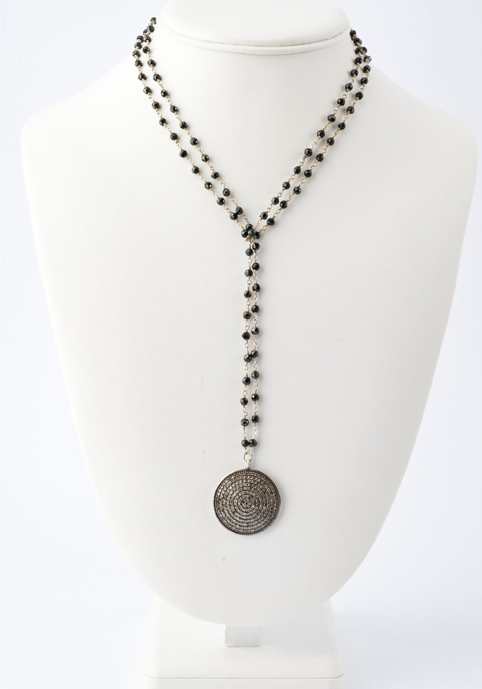 Pavé Diamond Disc on Black Spinel Chain