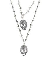 Mina Danielle Diamond Skull Necklace on Long Pyrate Chain