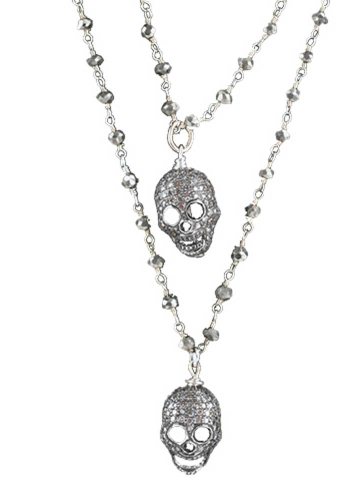 Diamond Skull Necklace on Long Pyrate Chain