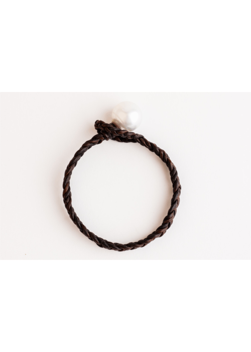 Mina Danielle Chocolate Braided Leather with White South Sea Pearl