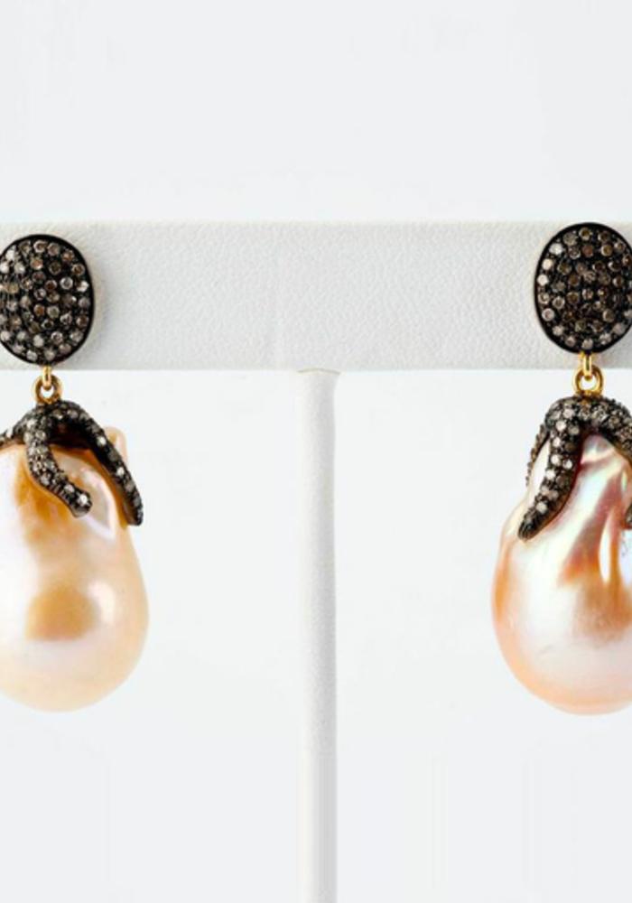 Baroque Pearl and Pavé Diamond Earrings