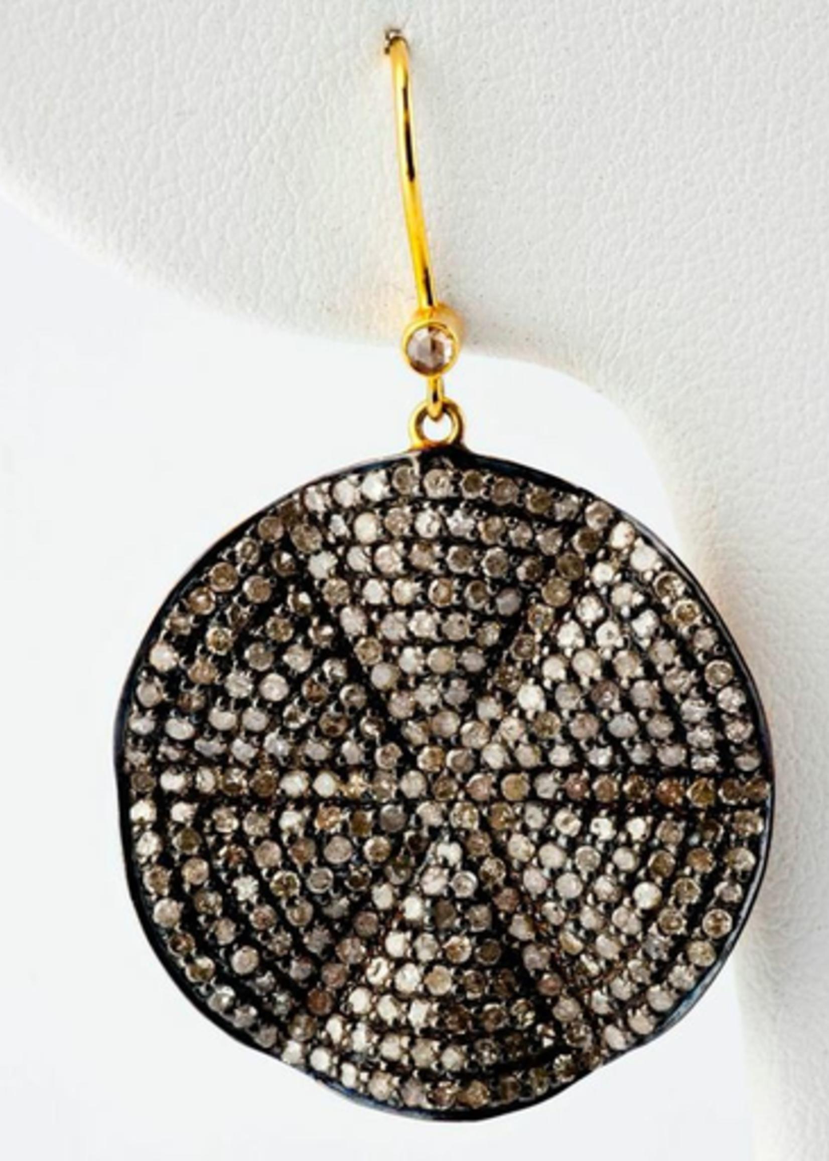 Mina Danielle Wavy Diamond Disc Earrings