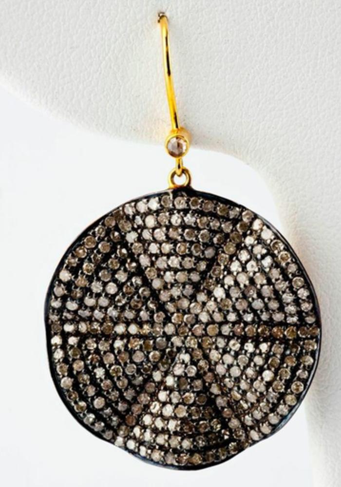 Wavy Diamond Disc Earrings