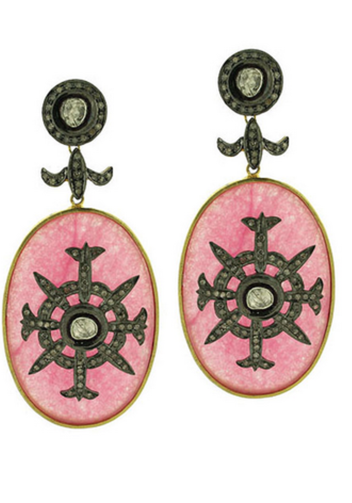 Pink Onyx and Diamond Oval Earrings