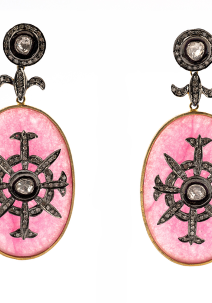 Pink Onyx and Diamond Oval Earrings