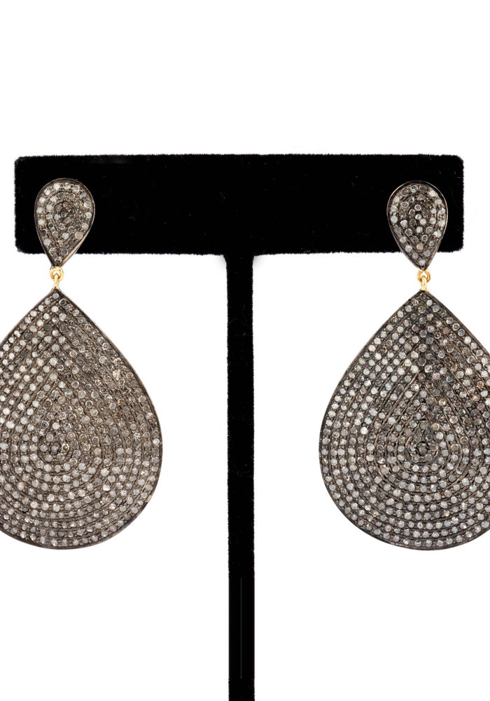 Pavé Diamond Teardrop Earrings