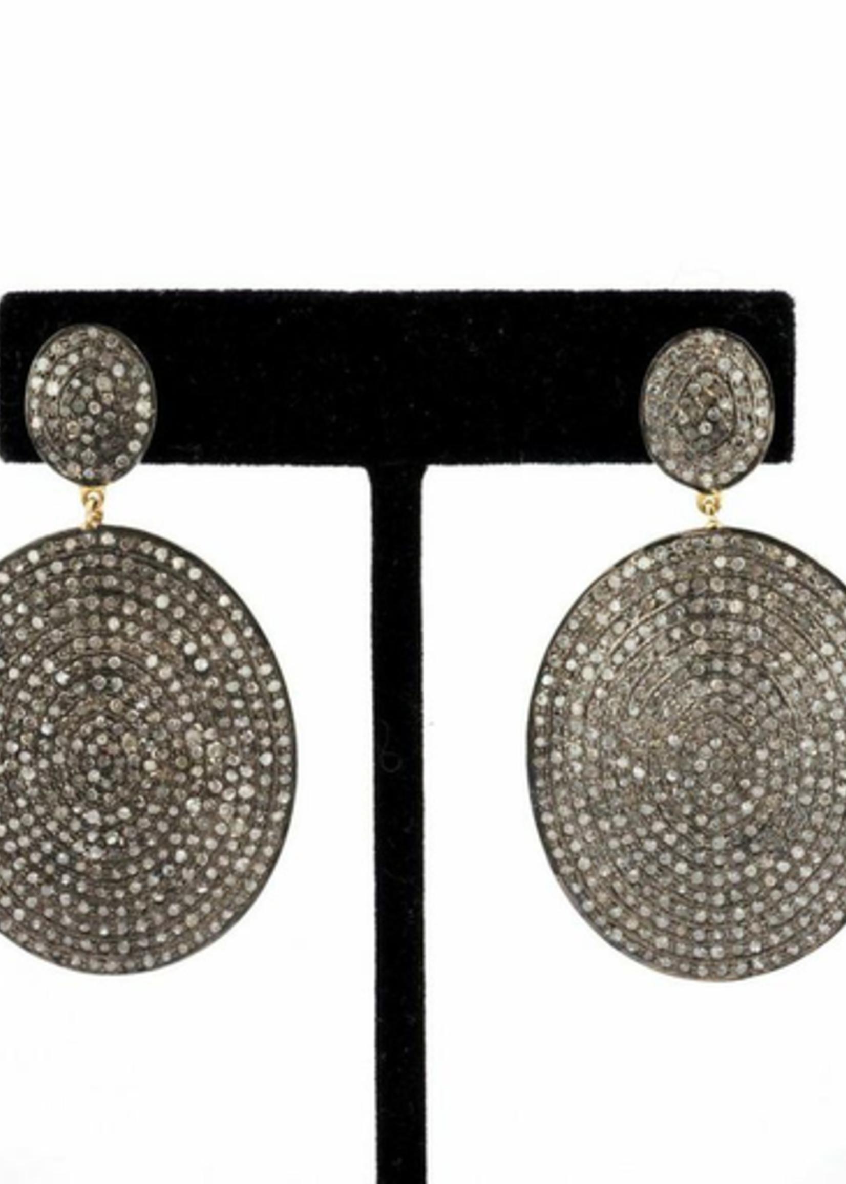 Mina Danielle Pavé Diamond Oval Earrings