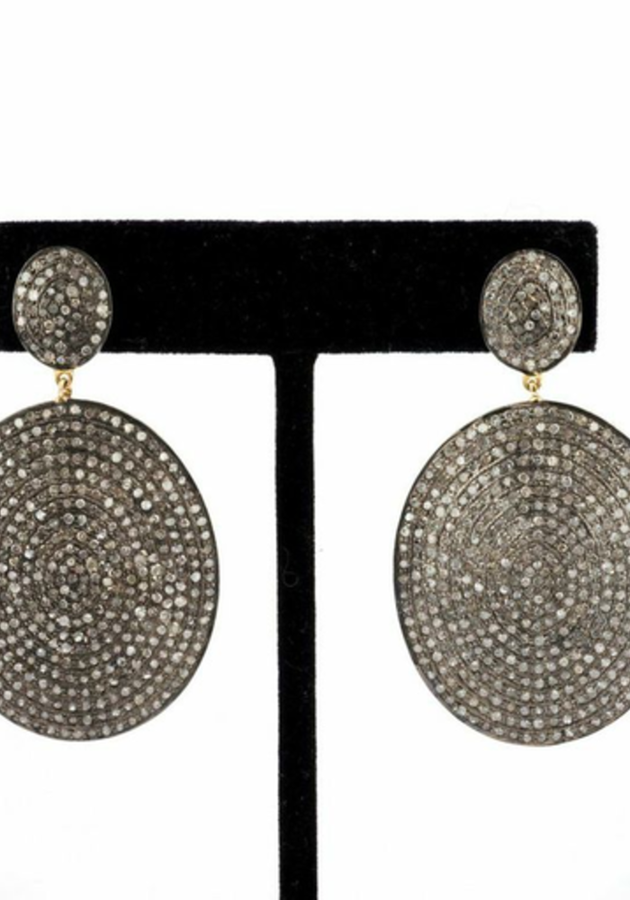 Pavé Diamond Oval Earrings