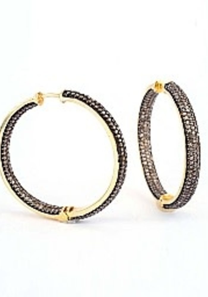 Inside out Pavé Diamond Hoops
