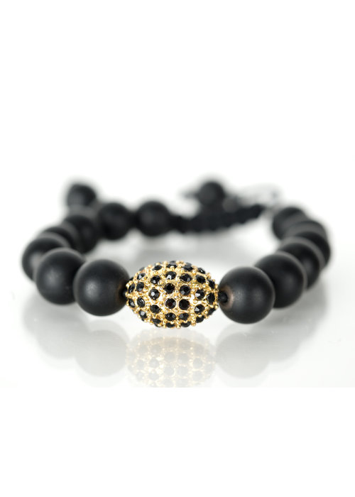 Mina Danielle Black Onyx Bracelet with Black and Gold Oval Macramé Crystal