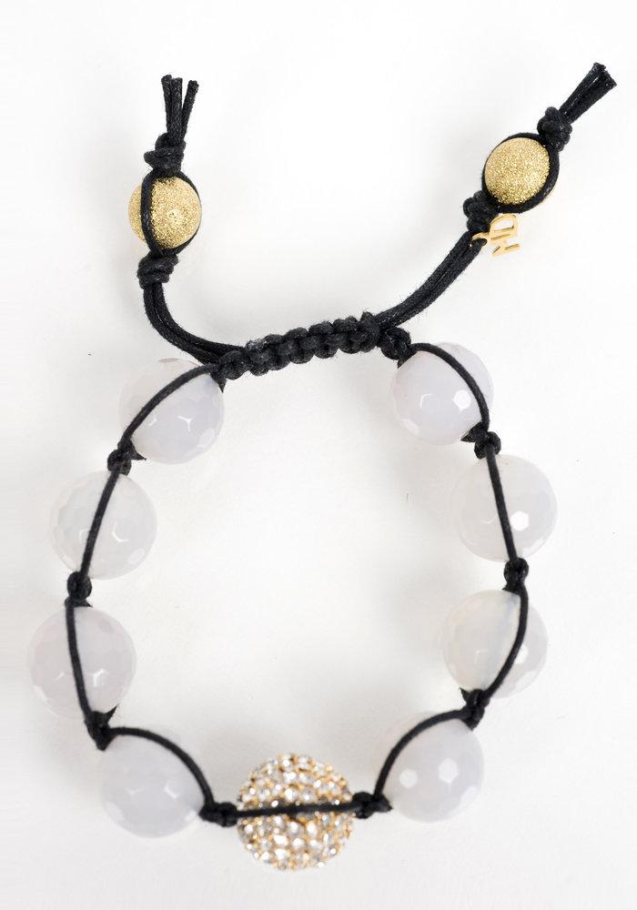 Macramé Moonstone with Gold Macramé Crystal