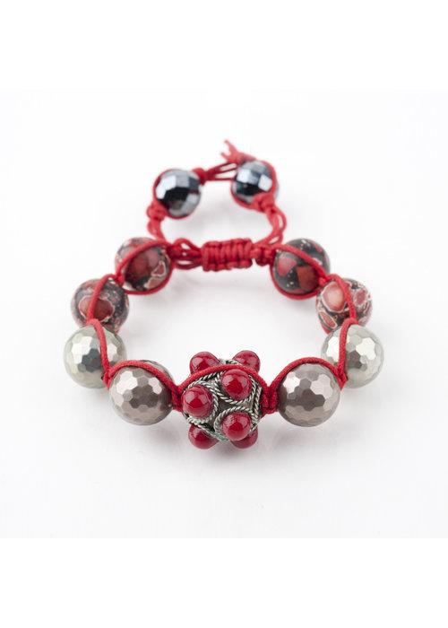 Mina Danielle Macramé Red Coral & Silver Tibetan Bracelet