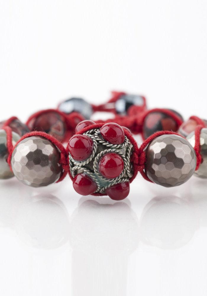 Macramé Red Coral & Silver Tibetan Bracelet