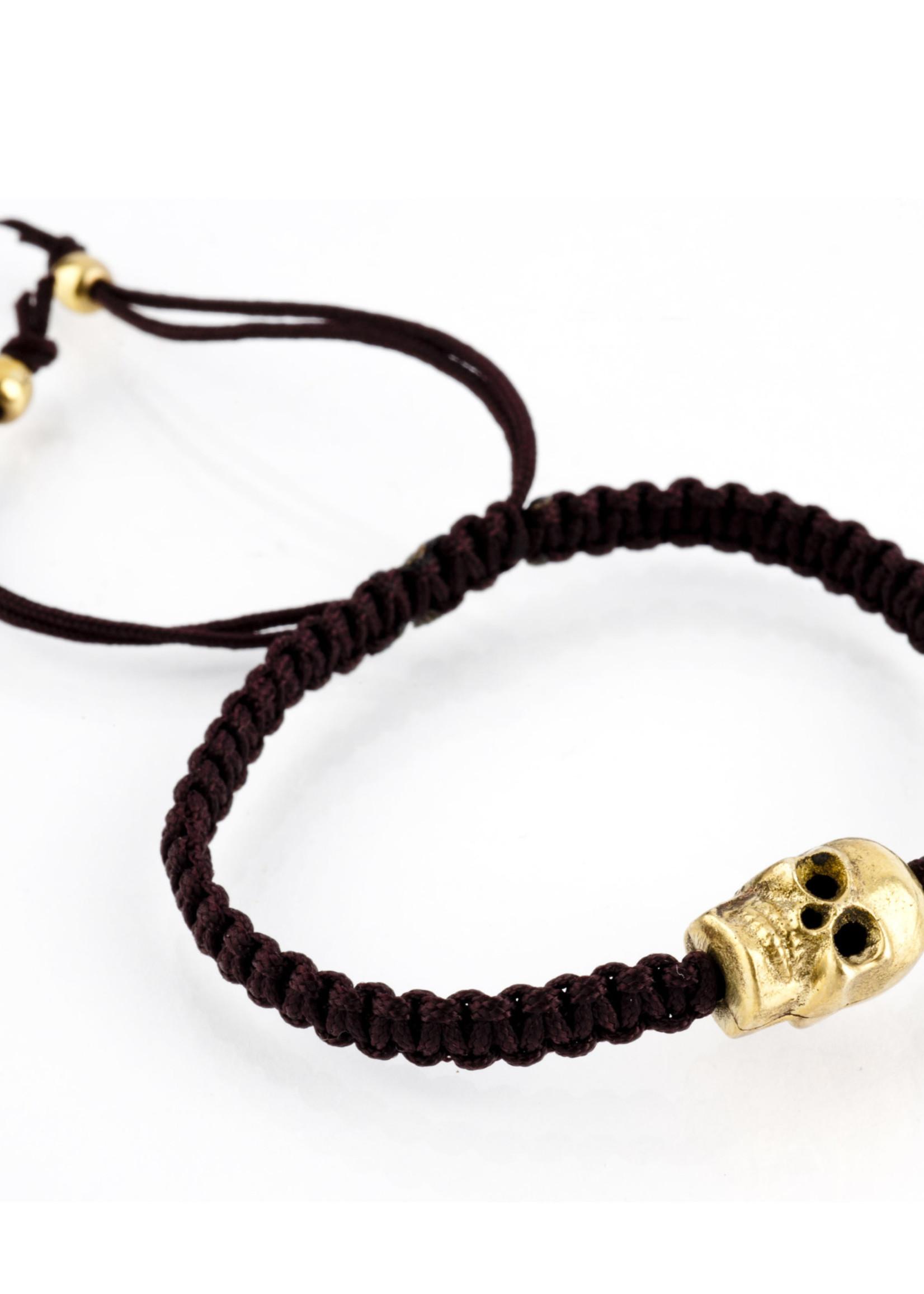 Mina Danielle Brown Macramé with gold skull