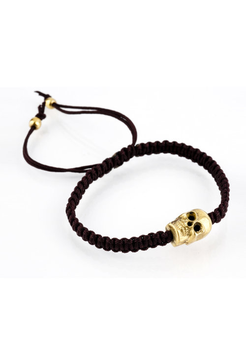 Mina Danielle Brown Macramé with gold skull