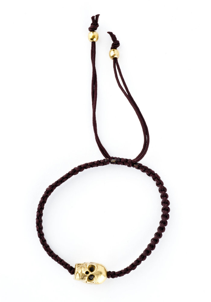 Brown Macramé with gold skull