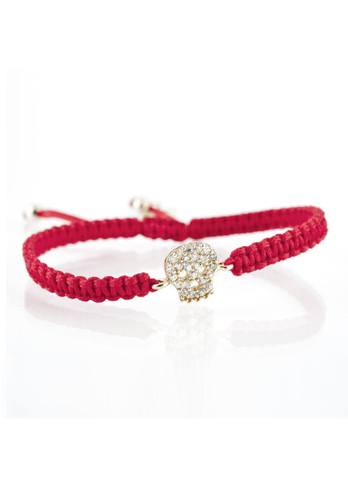 Mina Danielle Red Macramé with Gold CZ Skull