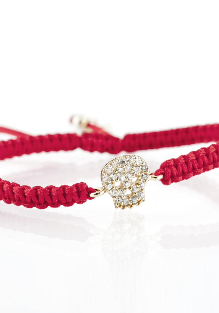 Red Macramé with Gold CZ Skull