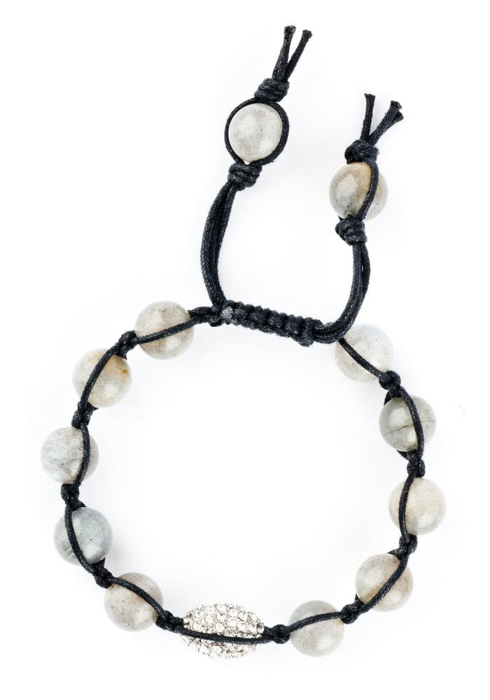 Macramé Labradorite with Oval Silver Pavé Crystal