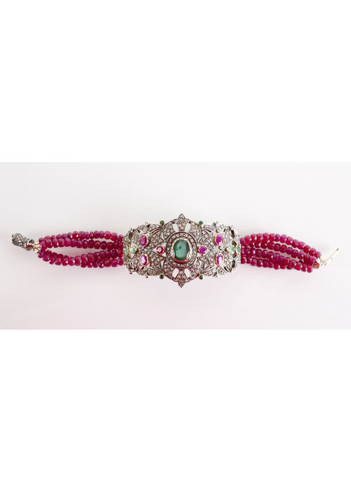 Mina Danielle *EXCLUSIVE* Ruby Cameo, Emerald, and Diamond Brooch Bracelet