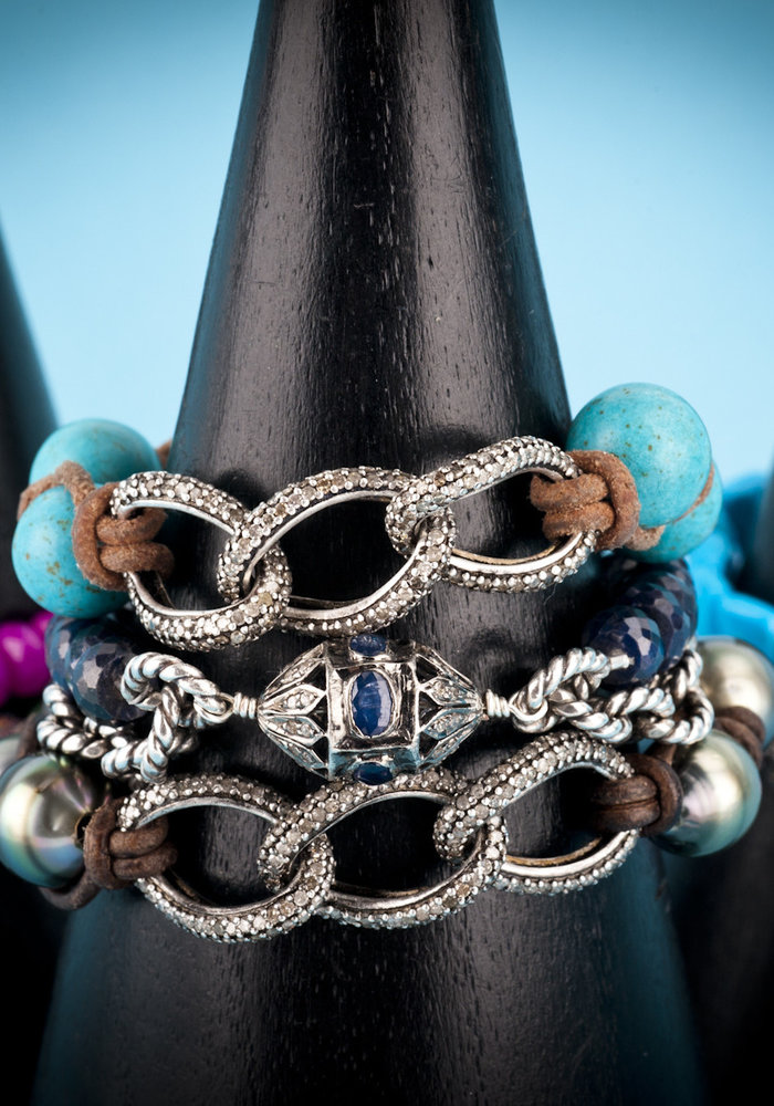 Pavé Diamond Links with Turquoise Beads on Tan Leather Cord