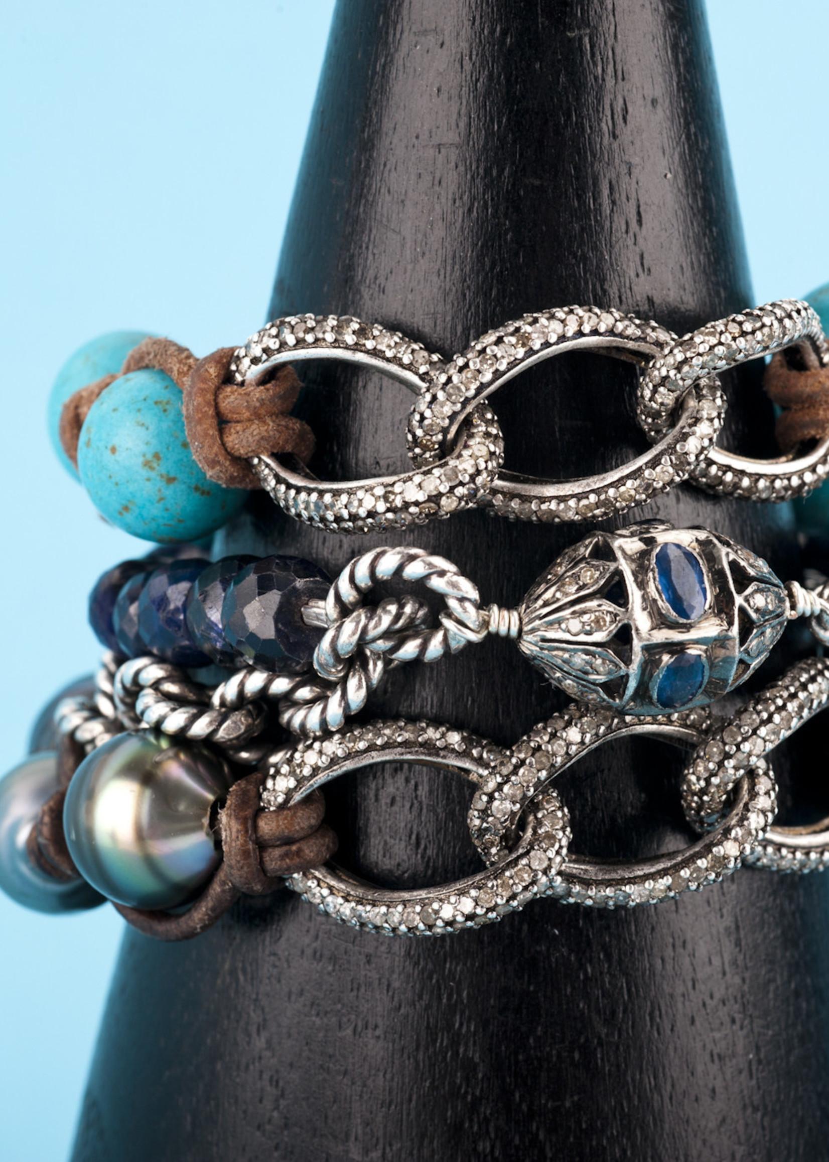 Mina Danielle Pavé Diamond Links with Turquoise Beads on Tan Leather Cord