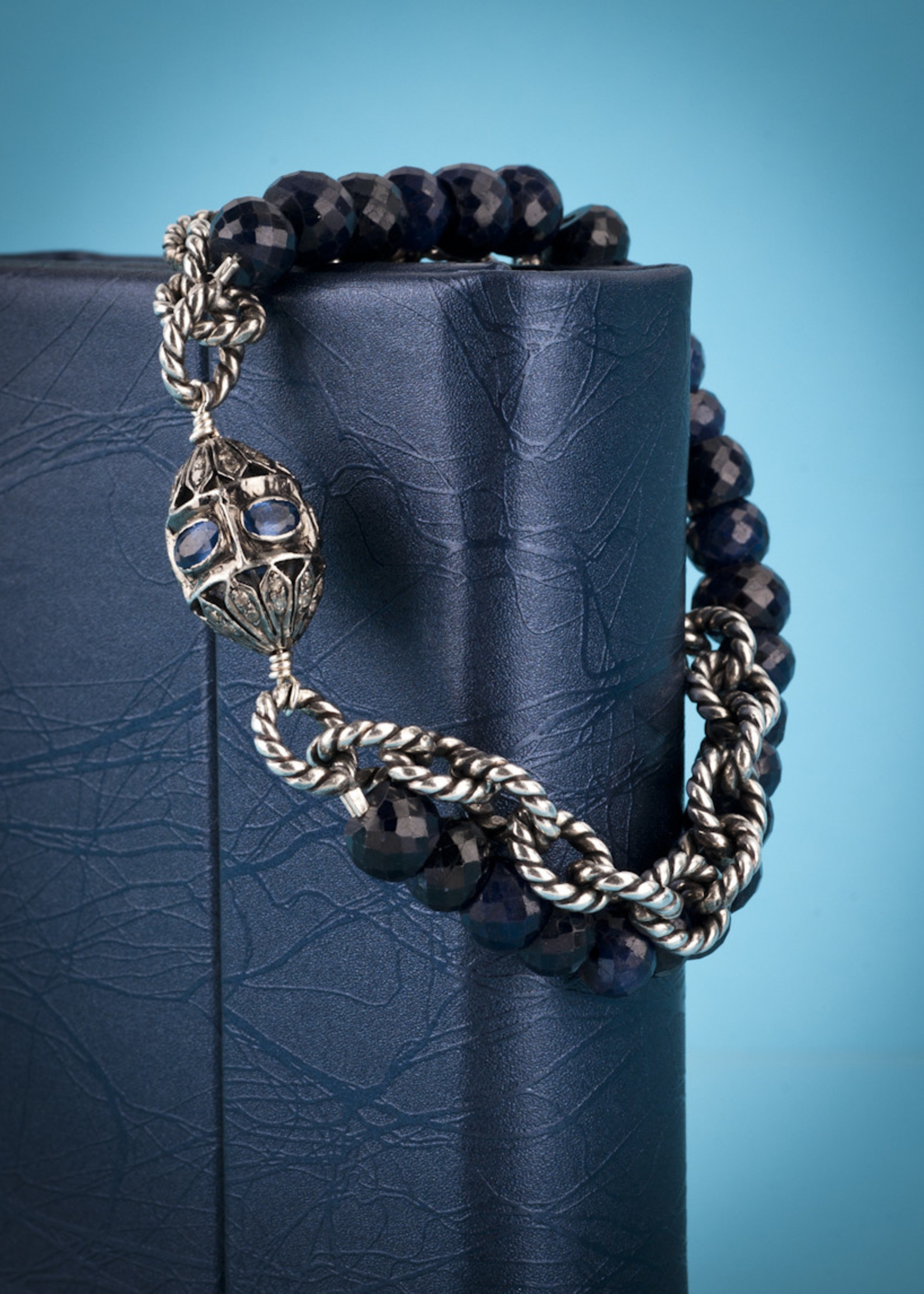 Mina Danielle Sapphire and Diamond Bracelet with Silver Chain