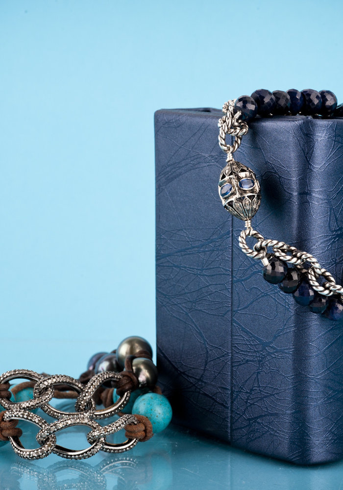 Sapphire and Diamond Bracelet with Silver Chain