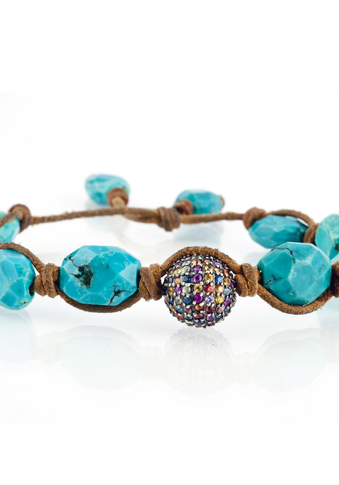 Turquoise with Multi Sapphire Pavé Sphere