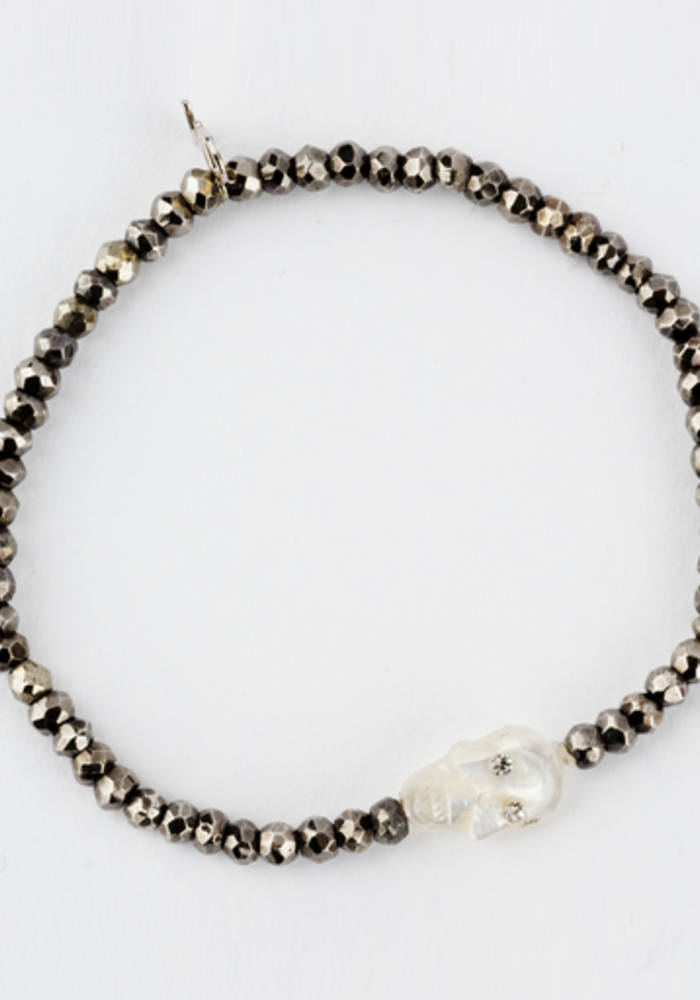 3mm Faceted Pyrite with Mother of Pearl Skull
