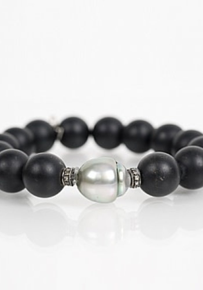 Black Onyx Stretch with Tahitian Pearl & Diamond Roundels