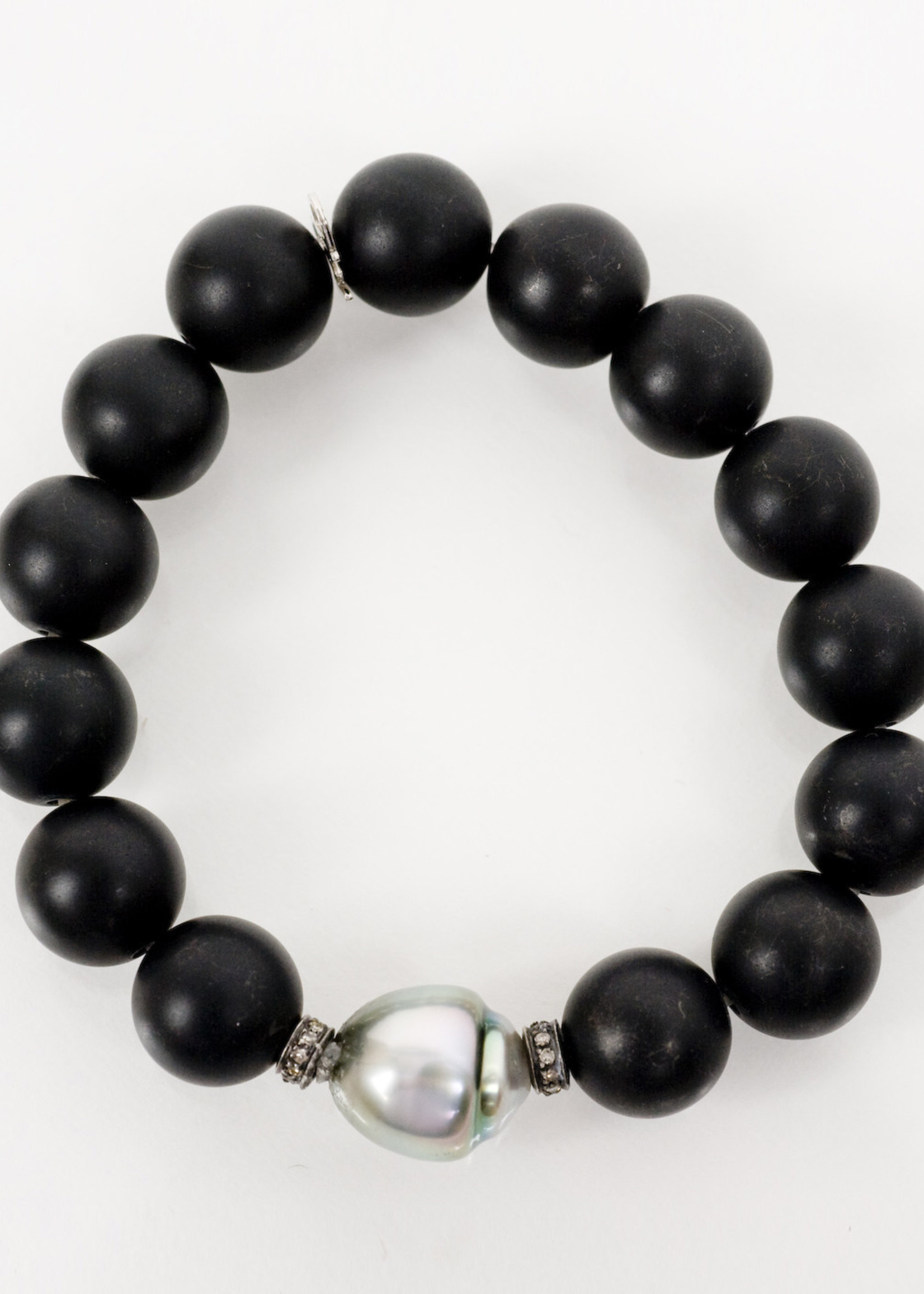 Mina Danielle Black Onyx Stretch with Tahitian Pearl & Diamond Roundels