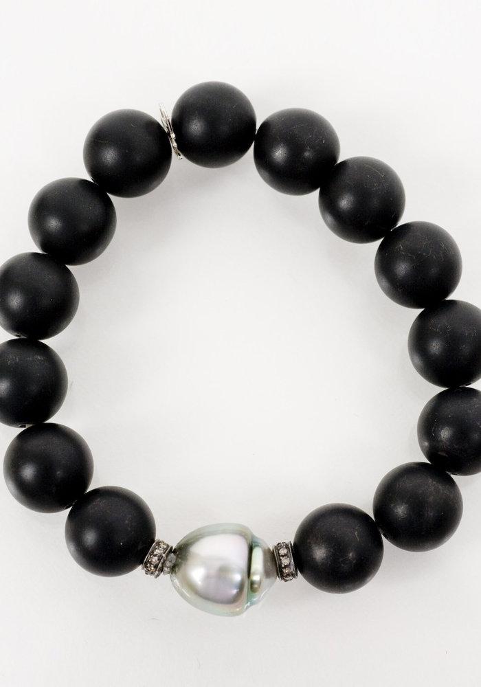 Black Onyx Stretch with Tahitian Pearl & Diamond Roundels