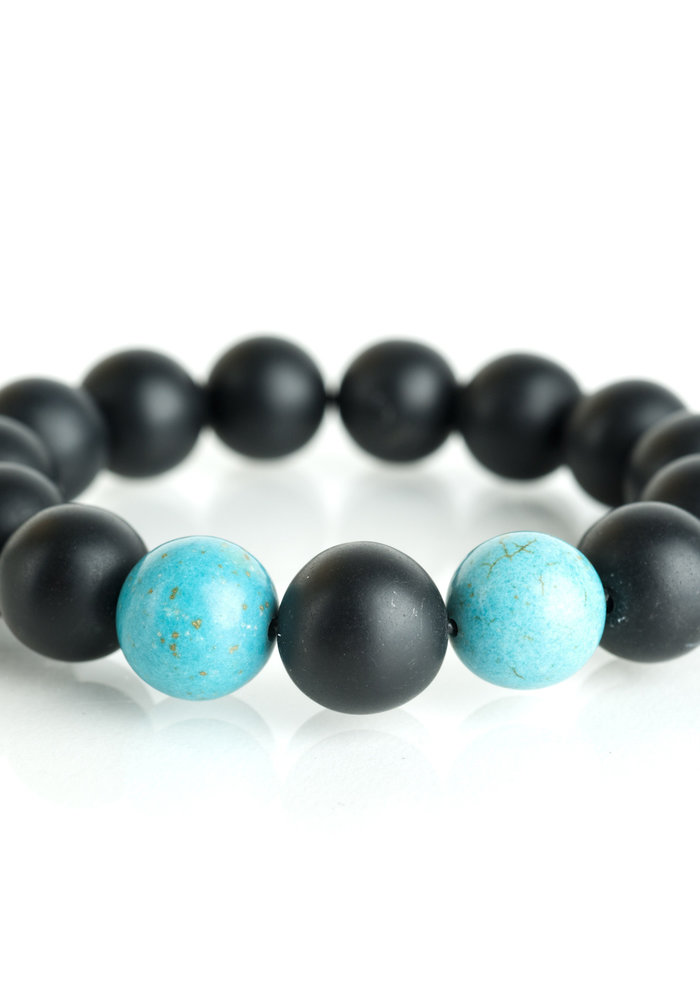 Black Onyx with Turquoise Beads