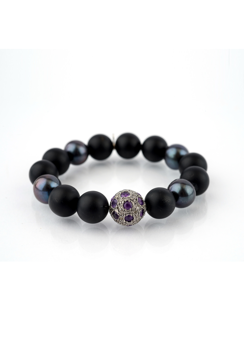 Mina Danielle Black Onyx with Gray Pearls and Amethyst & Diamond bead