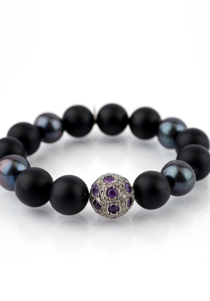 Black Onyx with Gray Pearls and Amethyst & Diamond bead