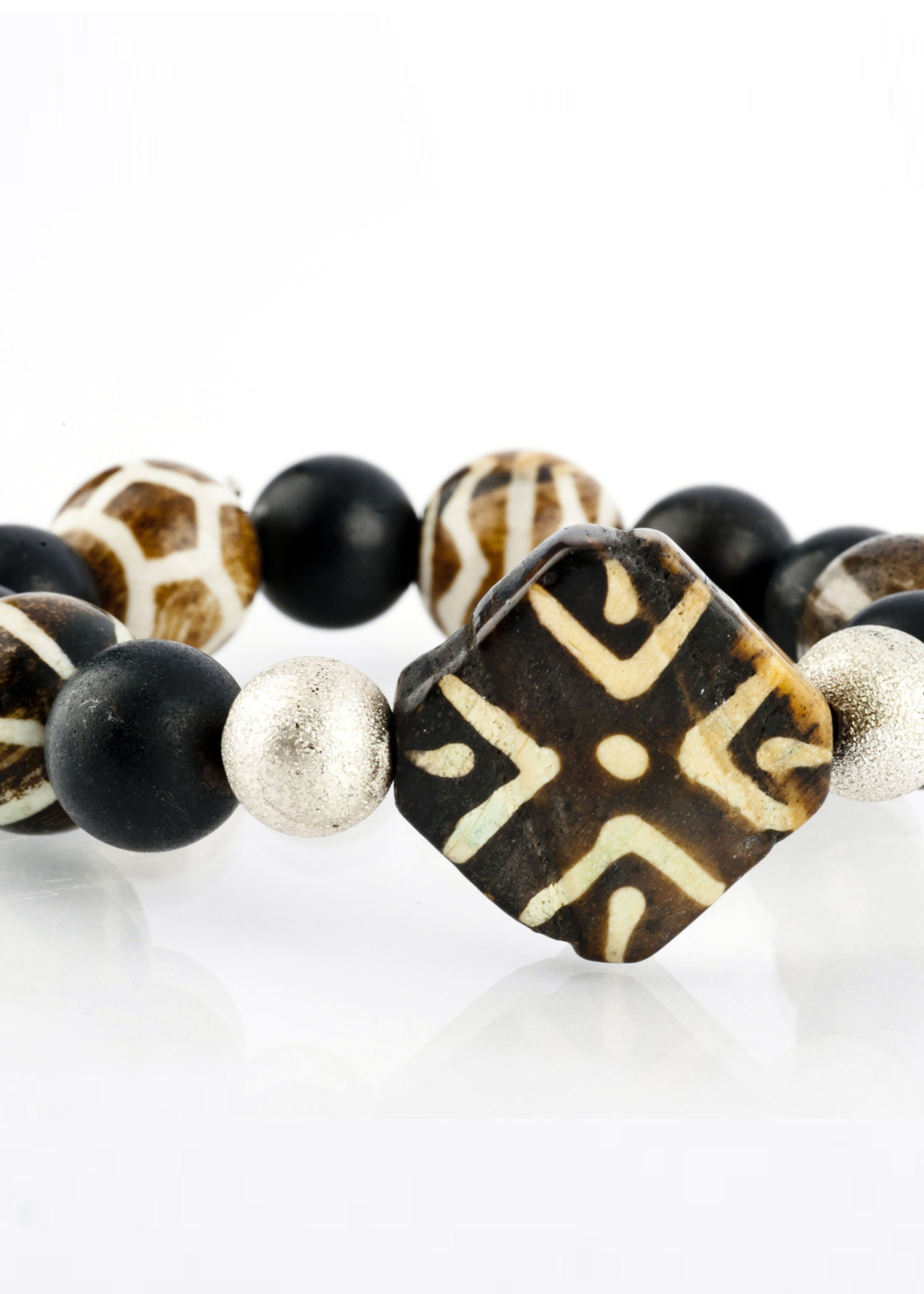 Mina Danielle Black Onyx with Square Tribal Bead and Silver Stardust