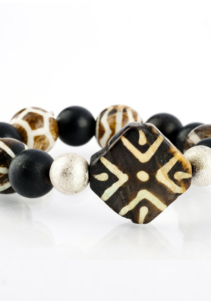 Black Onyx with Square Tribal Bead and Silver Stardust