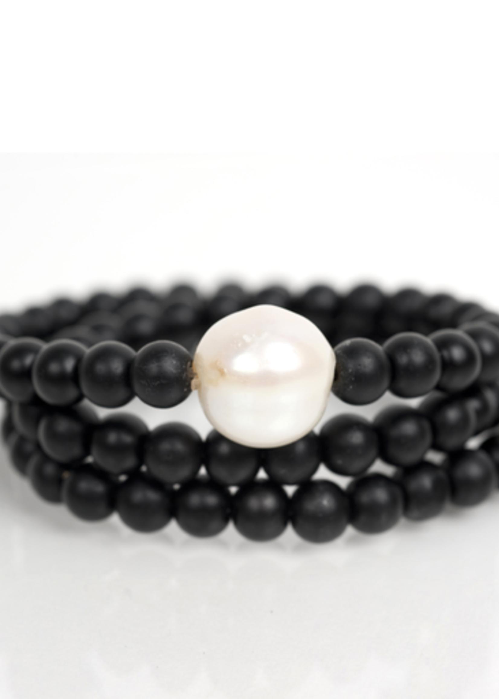 Mina Danielle Black Onyx Wrap with Fresh Water Pearl