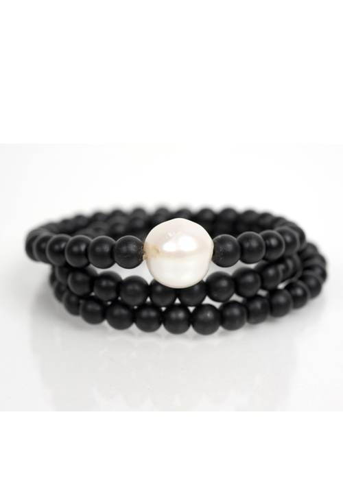 Mina Danielle Black Onyx Wrap with Fresh Water Pearl