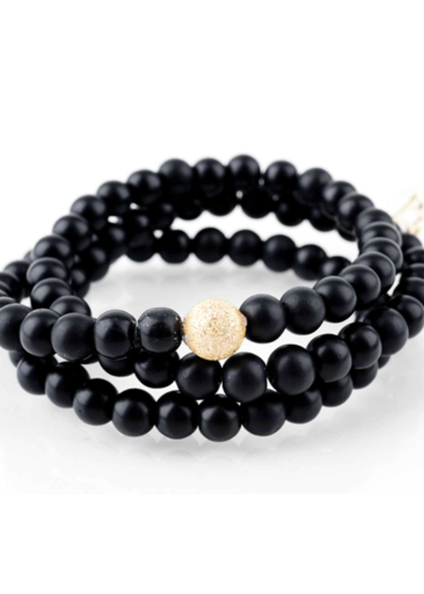Mina Danielle Black Onyx Wrap with Gold Stardust Bead