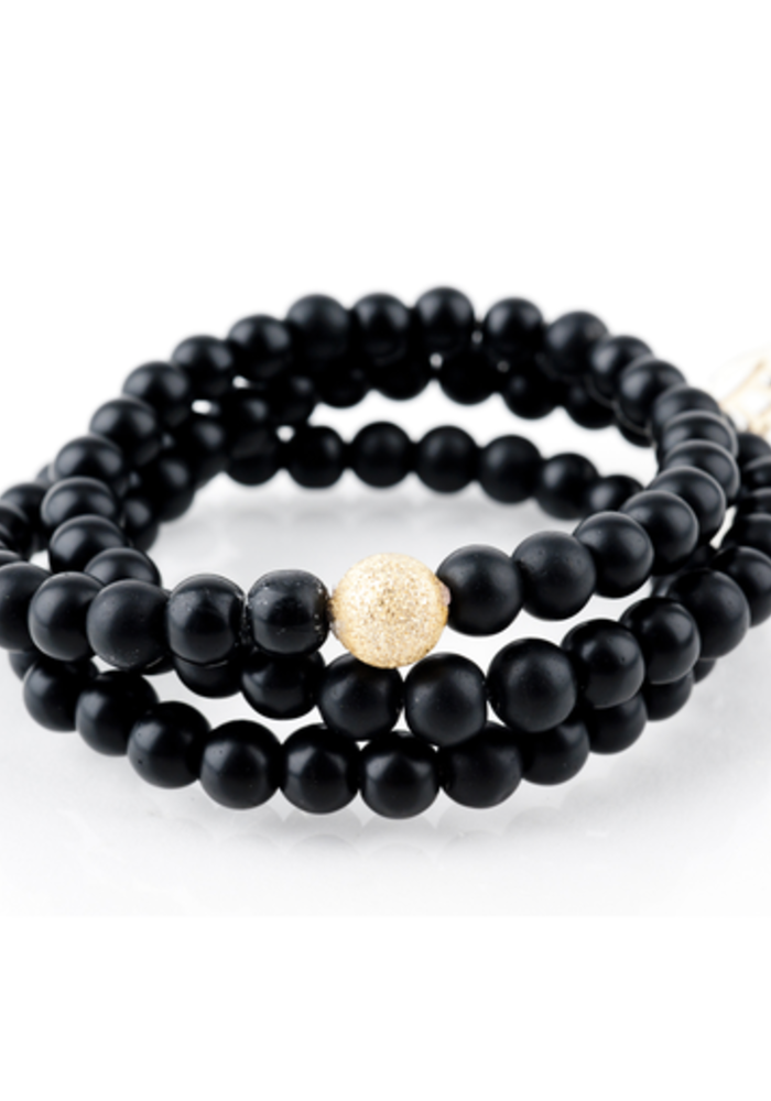 Black Onyx Wrap with Gold Stardust Bead